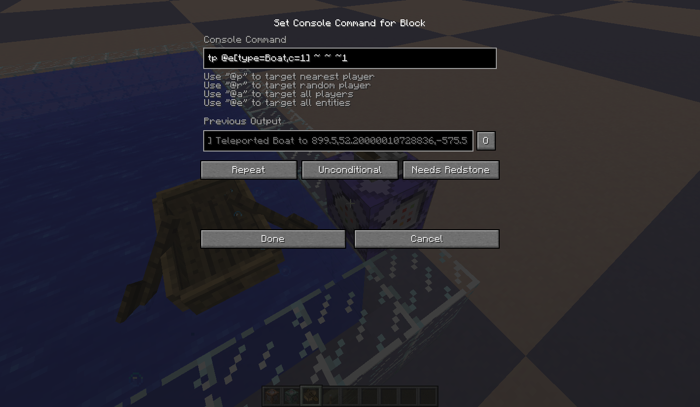 MC Boats Cant Be Teleported By Command Blocks When Ridden Jira - Minecraft teleport player command block