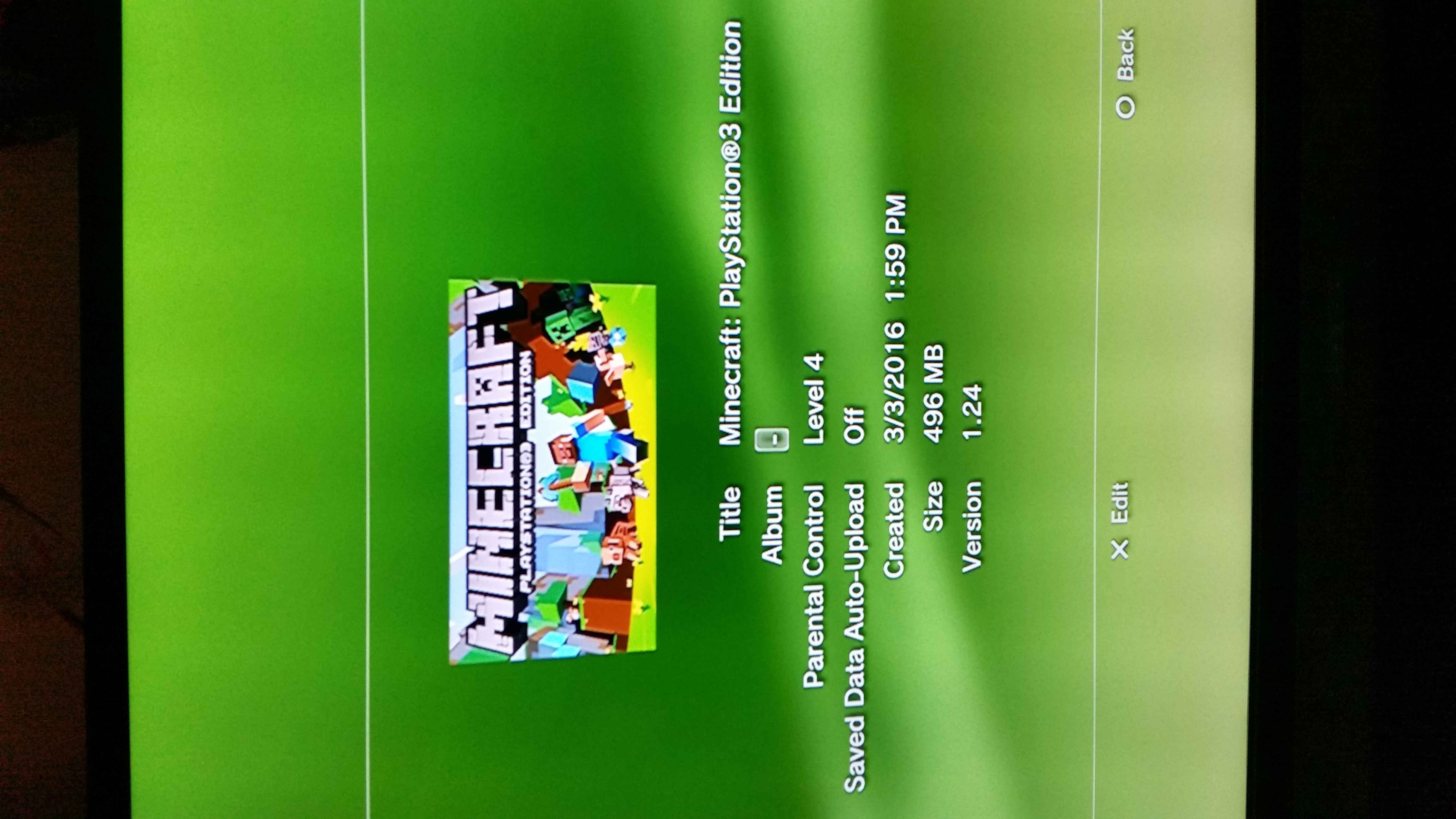 MCCE-441] Minecraft playstation 3 edition has failed to load and