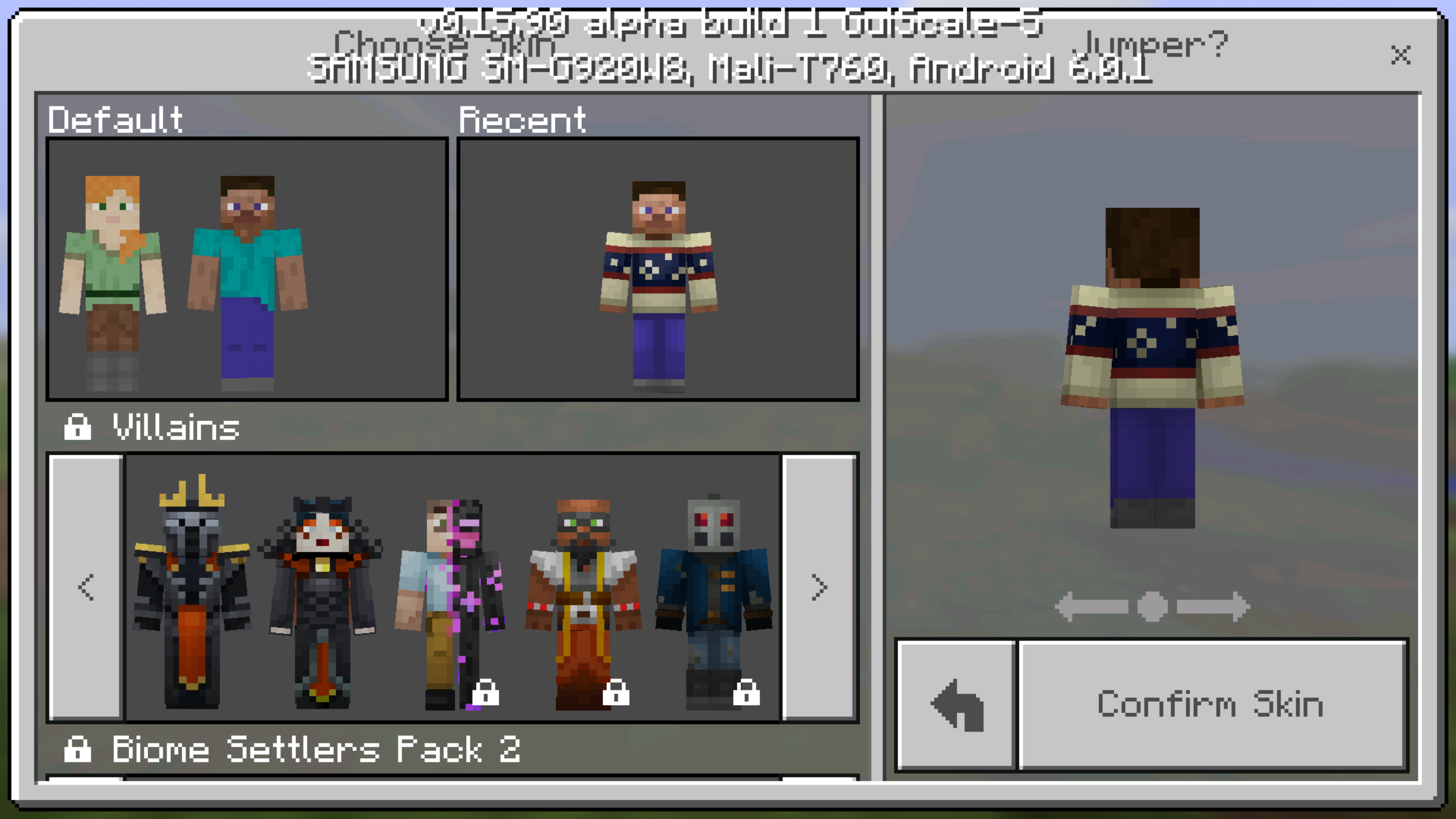 MCPE Cannot Choose Custom Skin Or Change Between Steve And - Skins para minecraft windows 10 edition beta