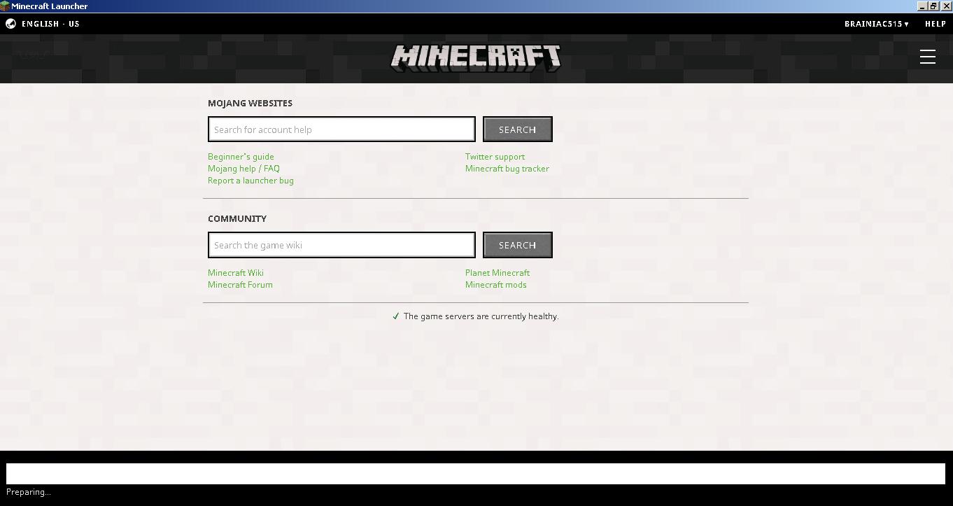 MCL-5551] Minecraft Launcher stuck on 'Preparing' - Jira
