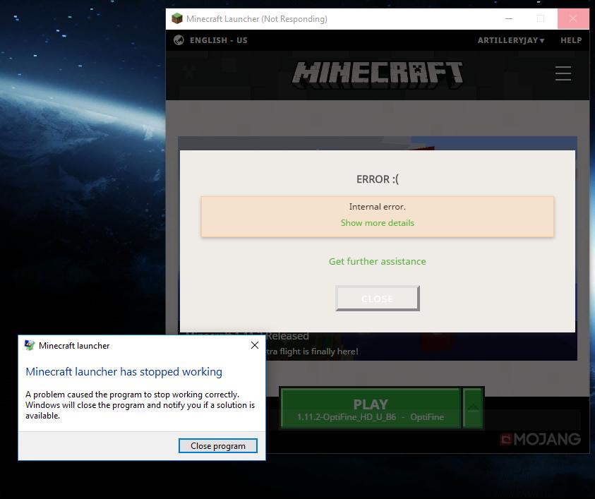 minecraft launcher not responding 2018