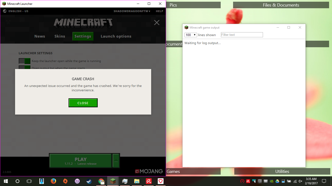 an unexpected issue occurred and the game has crashed minecraft