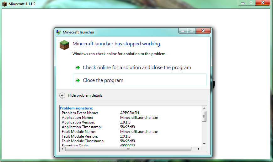 minecraft launcher not opening windows 7