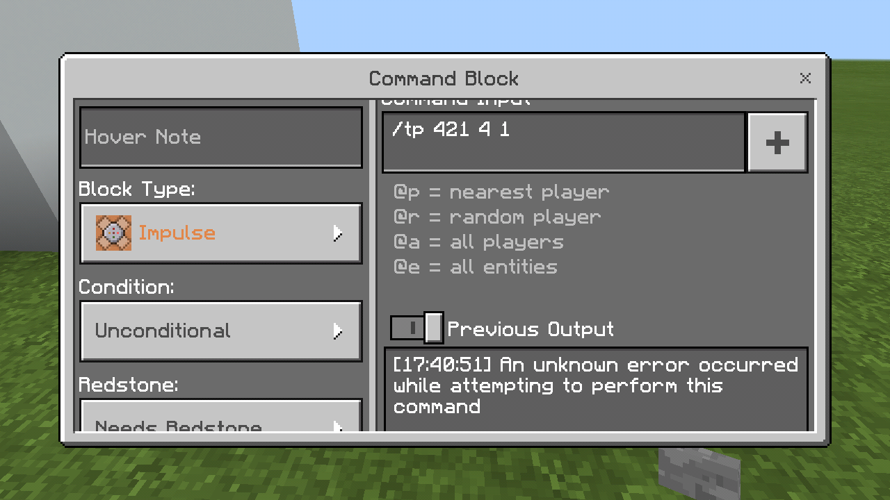 MCPE Tp Command Doesnt Work In A Command Block Jira - Minecraft teleport player command block