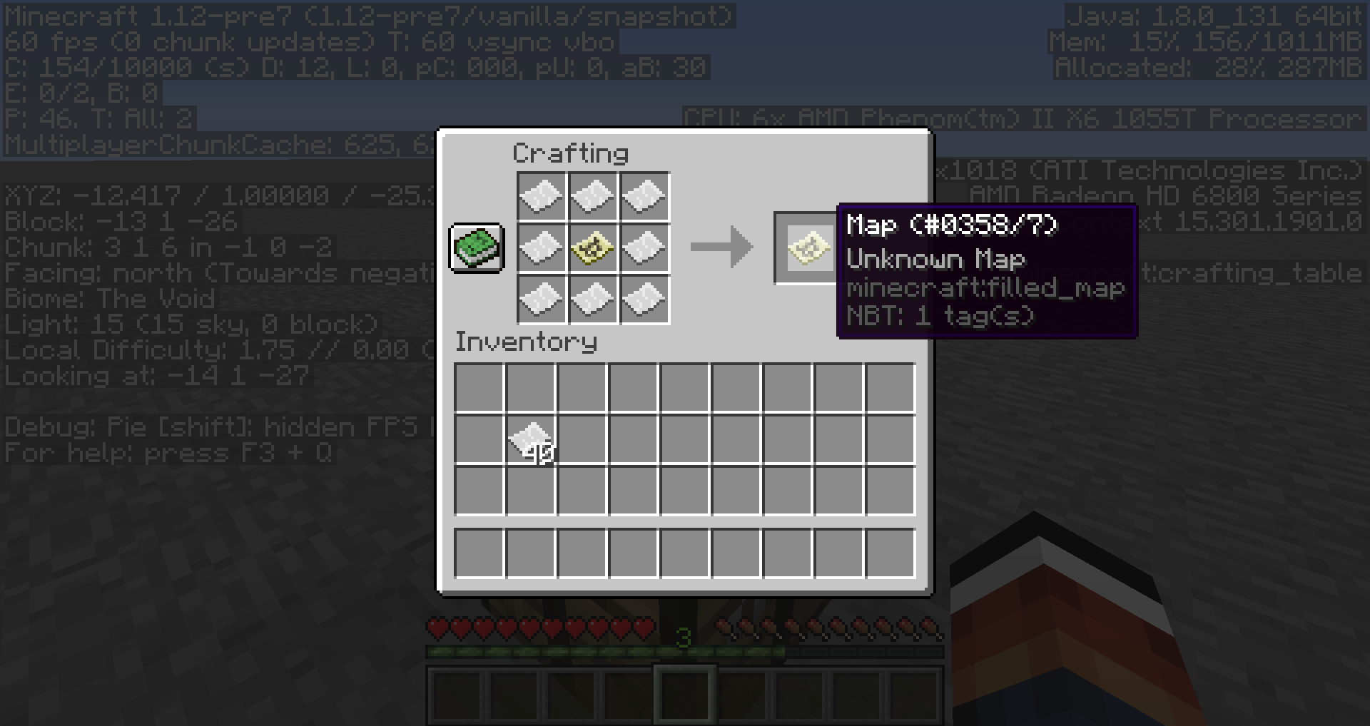 Minecraft Crashed Crafting From Inventory