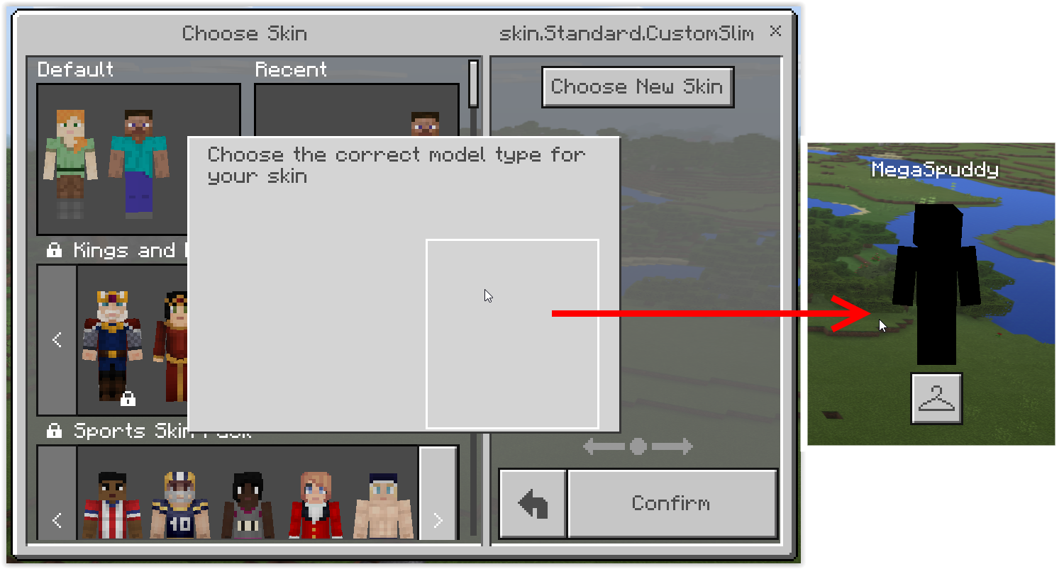 MCPE-20617] Custom Skin Cannot be Chosen and / or Appears