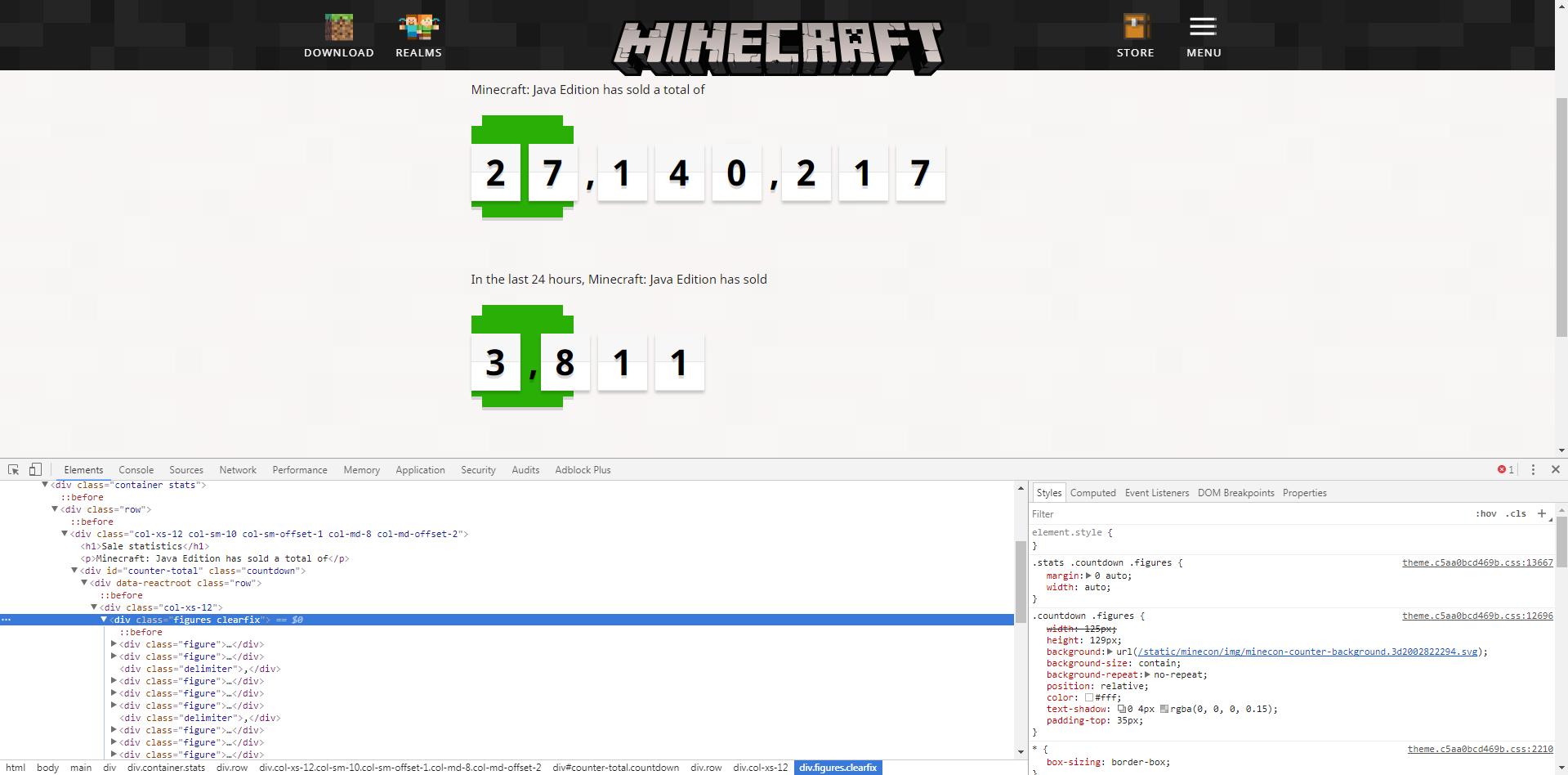 WEB-924] minecraft net statistics counters use Minecon counter