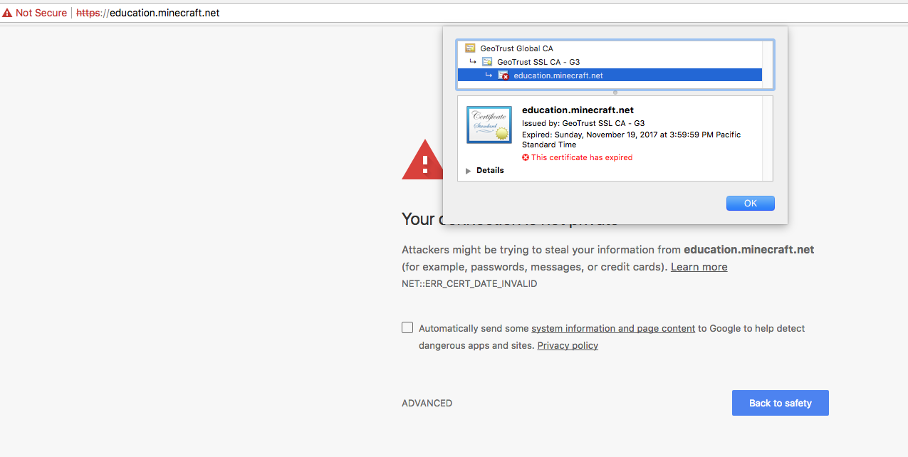 Web 934 Web Expired Ssl Certificate On Educationminecraft Jira