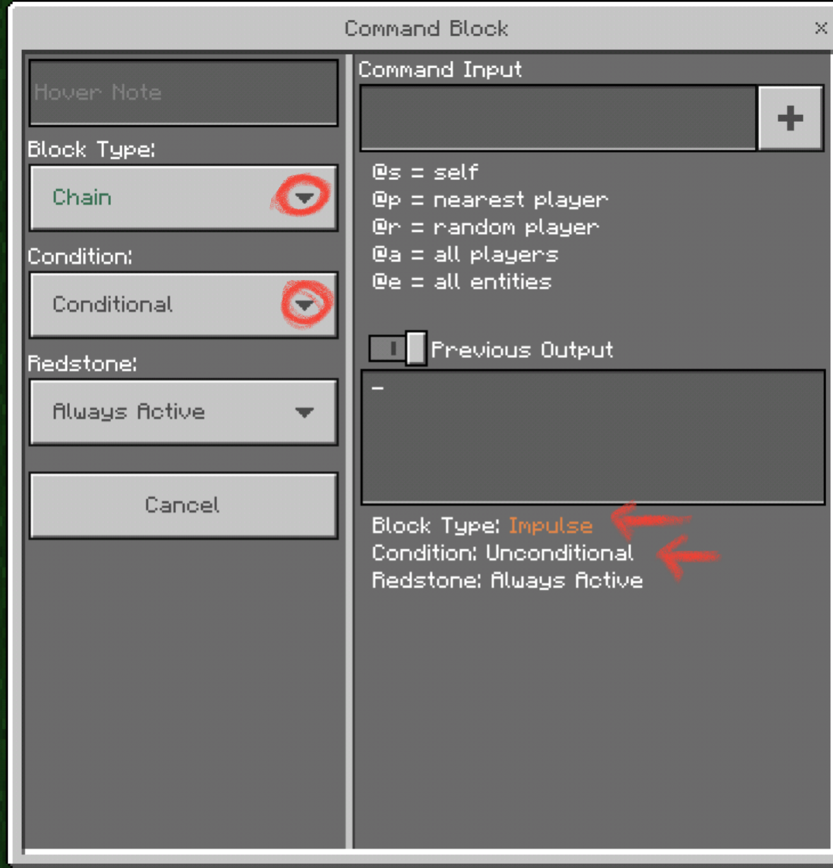 how to make conditional command block