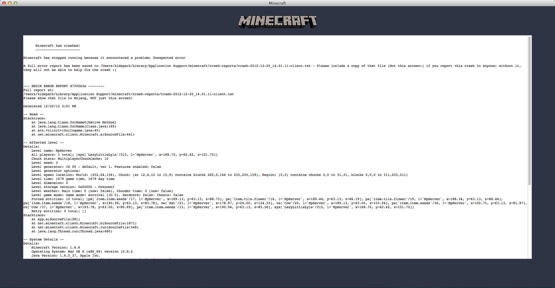 Mc 5084 minecraft crashing when dying jira screen shot 2012 12 20 at 20114 pmg ccuart Gallery