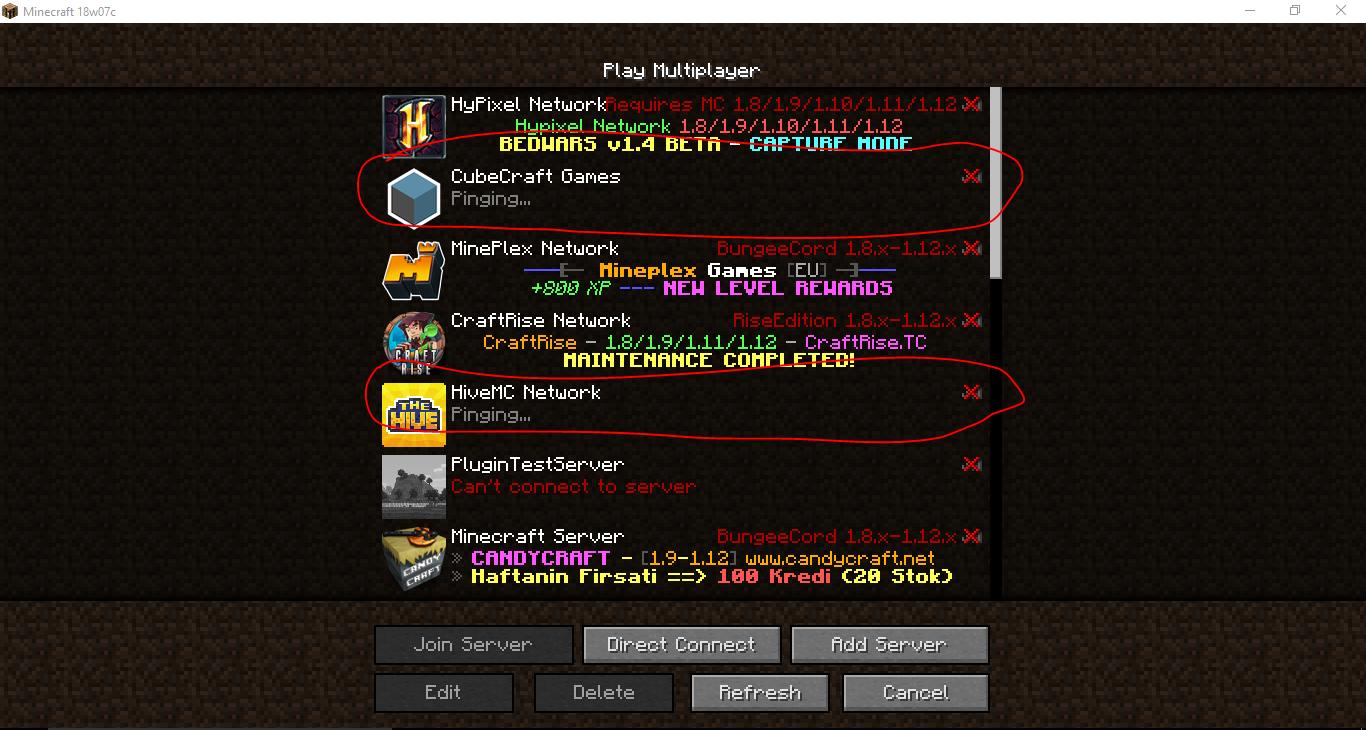 minecraft servers 1.14 list