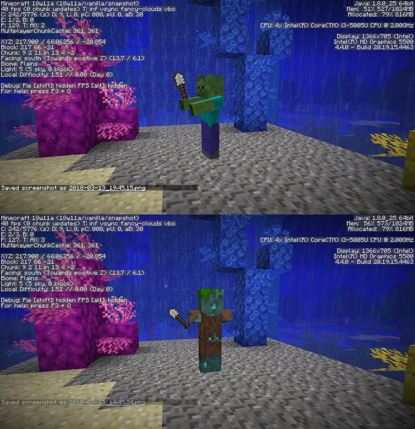 MC-127291] Zombies drowning always drop armor items instead