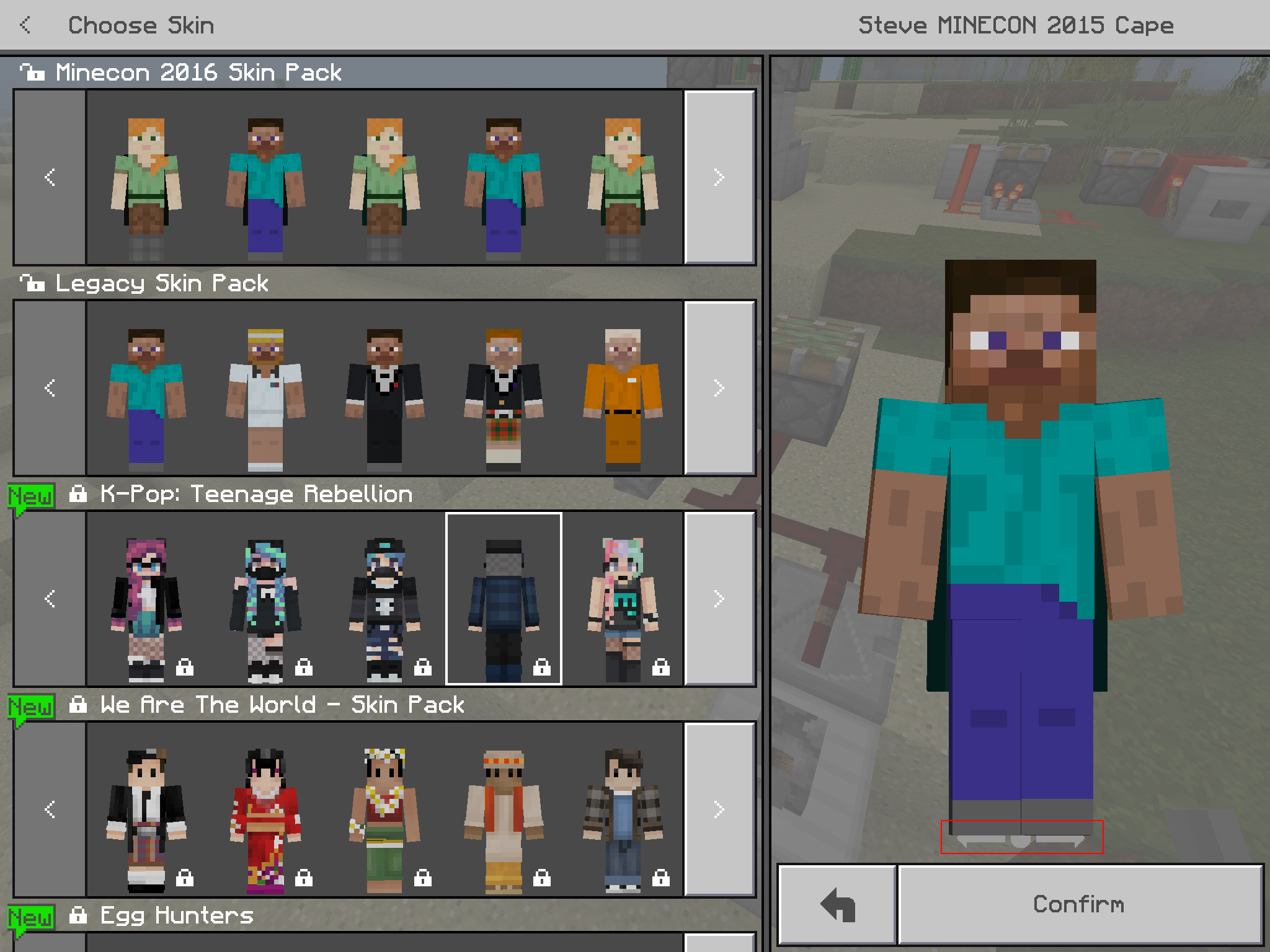 MCPE Skin Preview In Classic UI Minimal Scale Partially - Skins para minecraft pe kpop