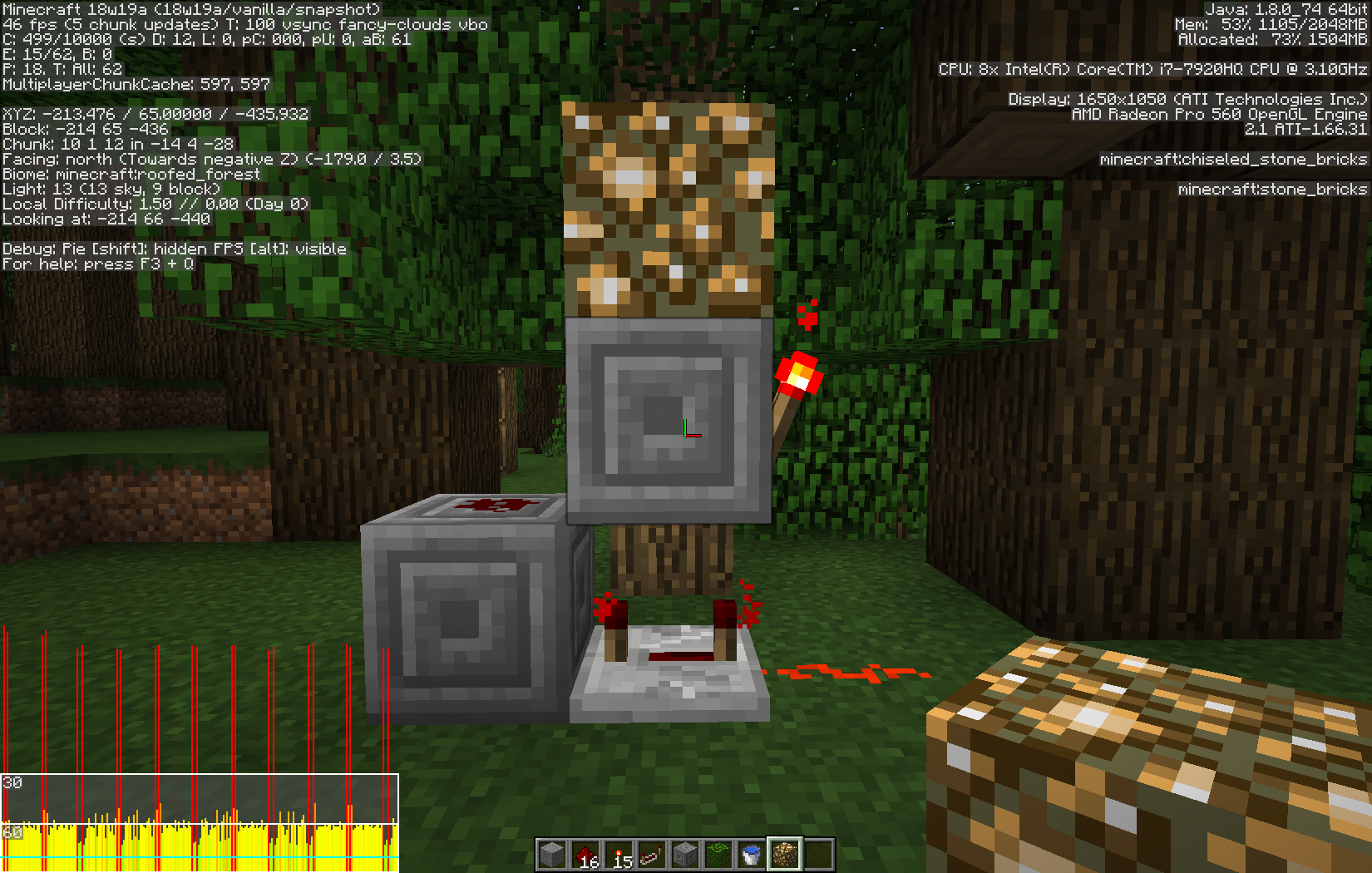 Mc 126518 Redstone Or Lighting Updates Causing Severe Lag And Minecraft Circuits Roofed Forest 15x15