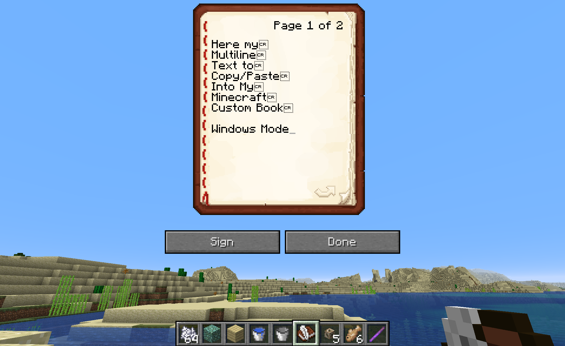 MC-135449] Copy & paste into book and quill displays CR on