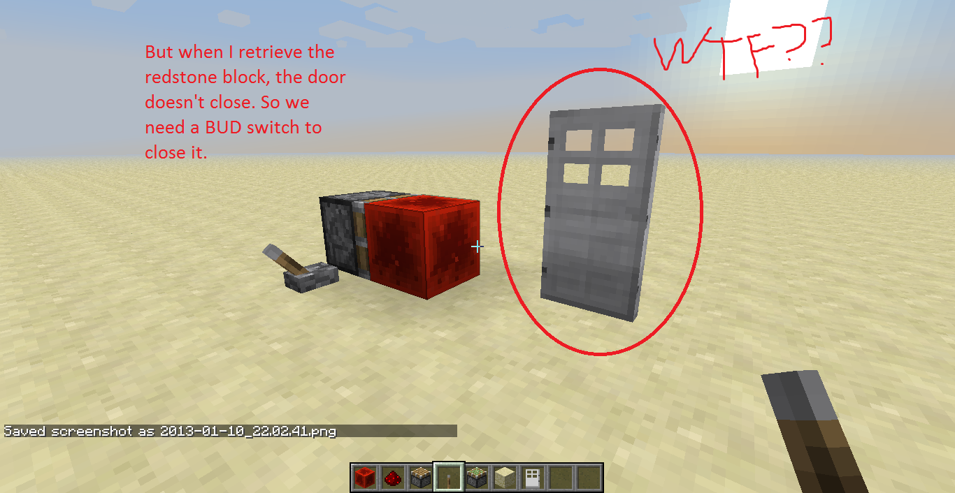 Redstone Block door bug 3.png & MC-6952] Iron door stays powered when retrieving the redstone block ...