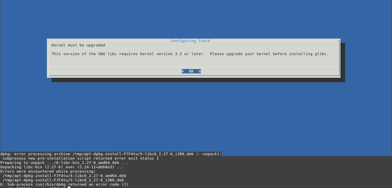 BDS-168] /lib/x86_64-linux-gnu/libm so 6: version `GLIBC_2 27' not