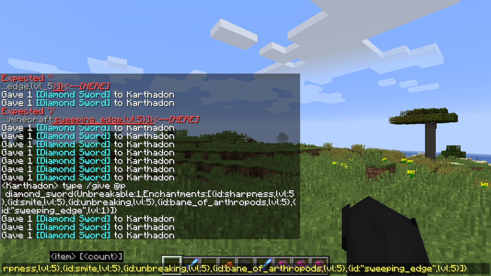 Mc 139151 Can T Spawn Items With Enchantment Sweeping Edge Using Commands Jira