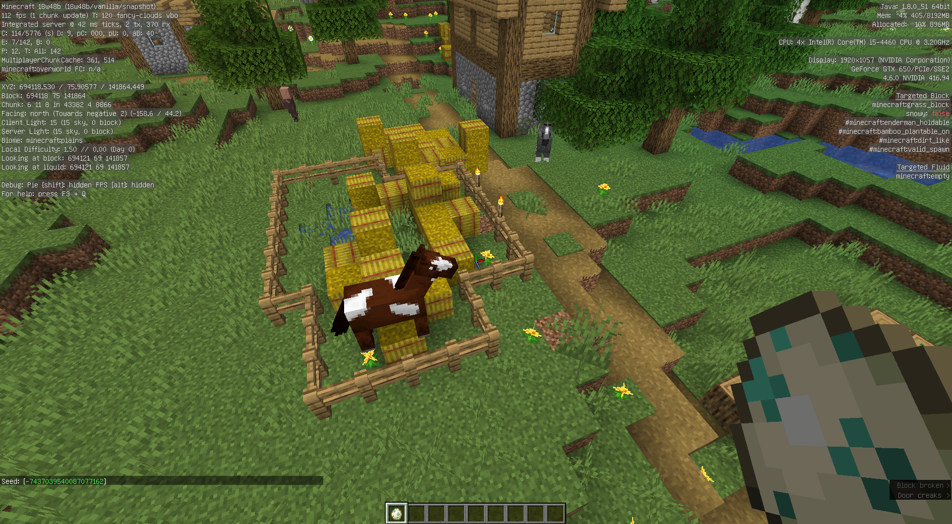 MC-140398] Hay bales, light posts and trees can generate inside