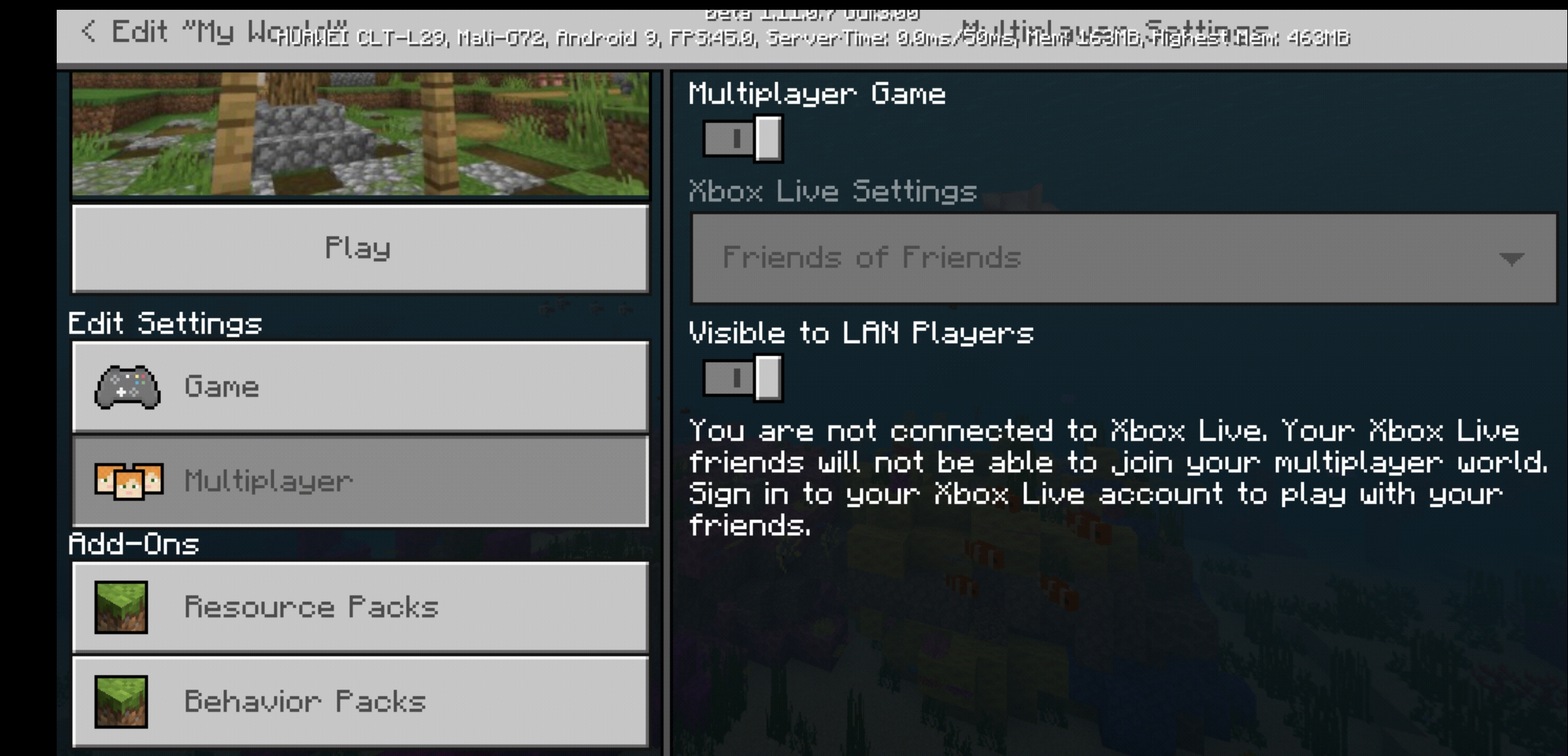 MCPE 43626 Android: The multiplayer gameplay continually switches
