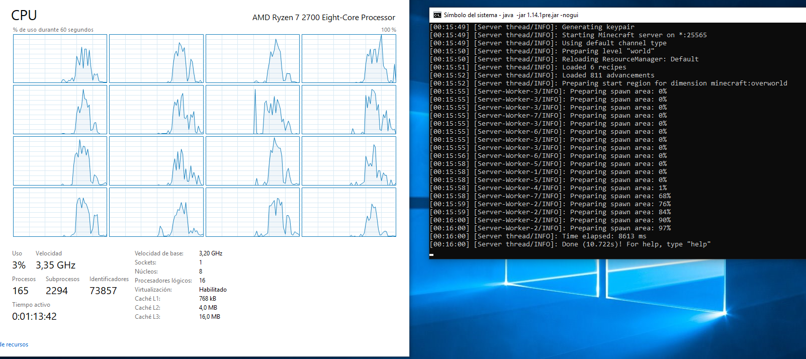 MC-149018] High Idle CPU usage on Server Edition (Minecraft