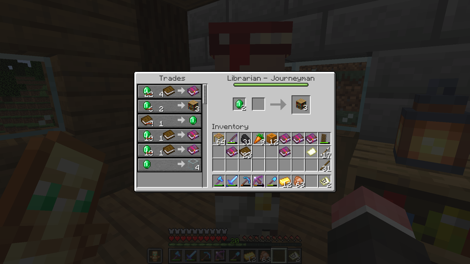 Mc 153334 Cured Villagers Sell Bookshelves For 1 Emerald
