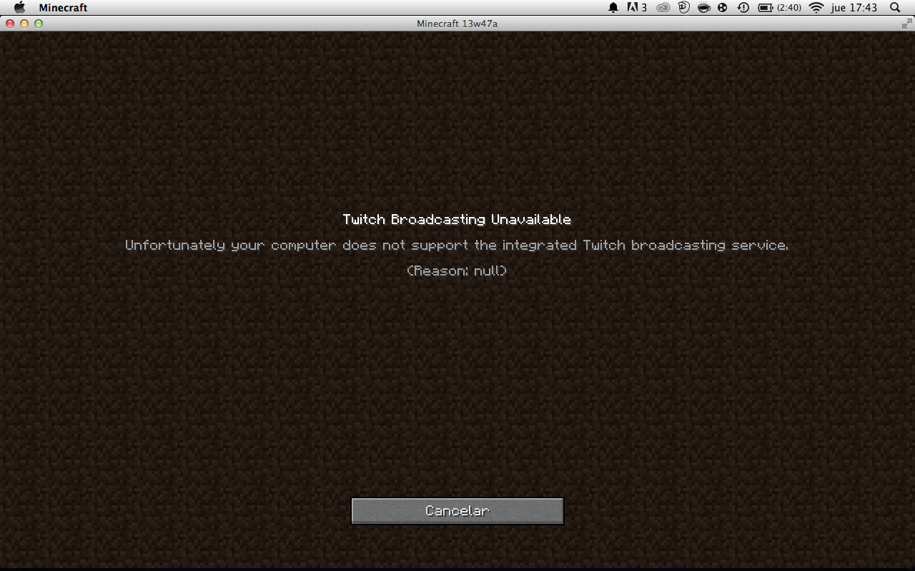 MC-40522] Minecraft give me an error on the Twich Broadcast Setting