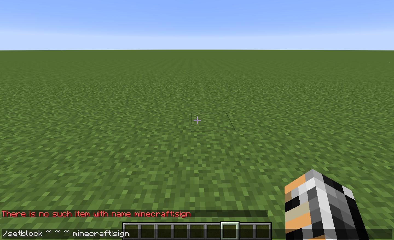 MC-54707] Command: setblock minecraft:sign produces a confusing