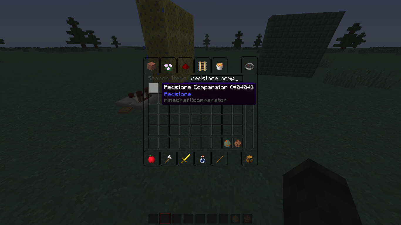 MC-61613] Redstone Comparator not visible in hand nor