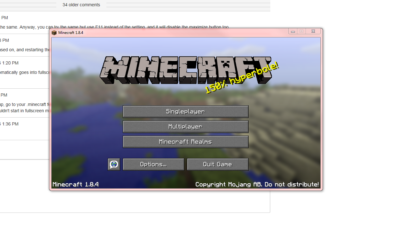 how to turn off minecraft fullscreen