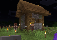 Minecraft villagers standing outside house at night.jpg