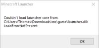 Minecraft Launcher-Load Launcher Core Error.png